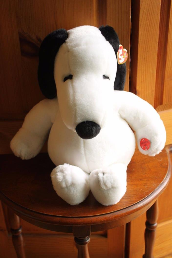 Ty Snoopy Beanie Buddy Baby Plush Musical Woodstock Peanuts Charlie Brown Pair