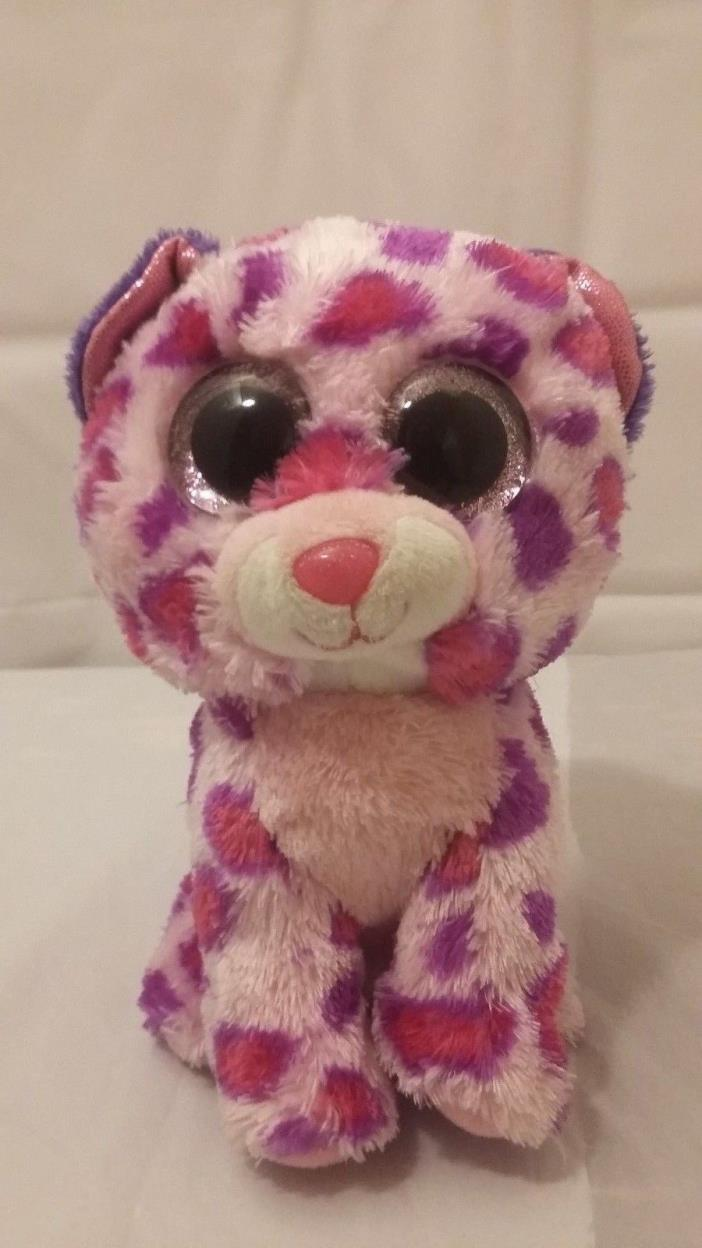 TY Beanies Boo GLAMOUR Leopard Polka Dot Pink Purple Glitter Eyes Plush Toy 6
