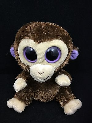 Ty Beanie Boos Coconut Monkey Chimp Brown Big Purple Eyes Bean Bag Plush 5