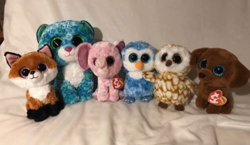 "Lot Of 6 TY Beanie Boos - 9"" Leona - 6"" Swoops Ice Cube Ellie Dougie Slick"
