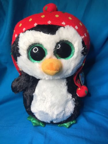 "New Large Ty Beanie Boo Christmas Themed Freeze the Penguin 8"" tall"