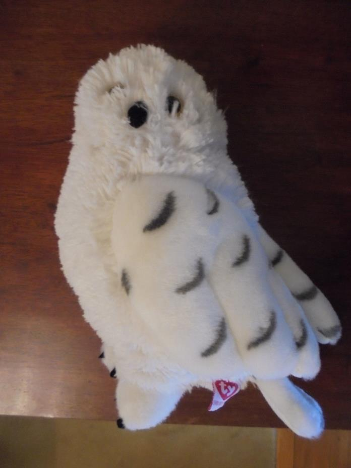 """TY SNOWY WHITE OWL STUFFED TOY. UNUSUAL TALL SIZE. 9"""" TALL. 2007"""