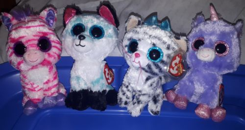 TY Beanie Boo lot Claire's Exclusives - Athena, Quinn, Piper & Zazzy