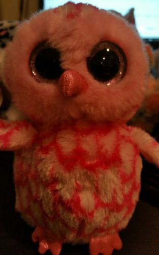 Ty-Beanie-Boo-Plush-Stuffed-PINKY-the-Pink-Barn-Owl-6in