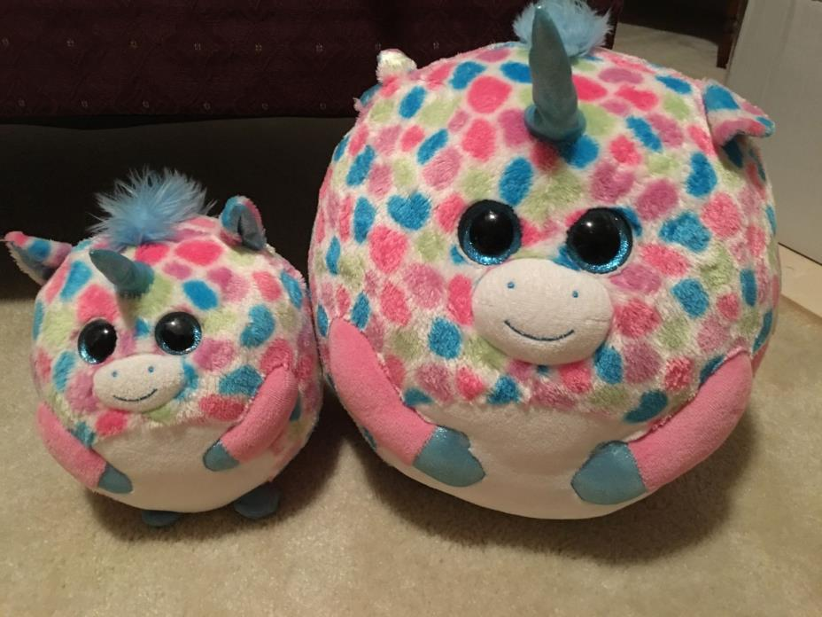 Ty Beanie Ballz Fable Unicorn Plush, Medium & Large No Paper Tag Super Clean