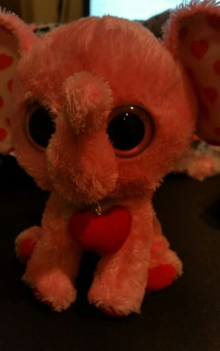 TY Beanie Boos Tender Pink Heart Elephant (Solid Eye Color) (6 inch) preowned
