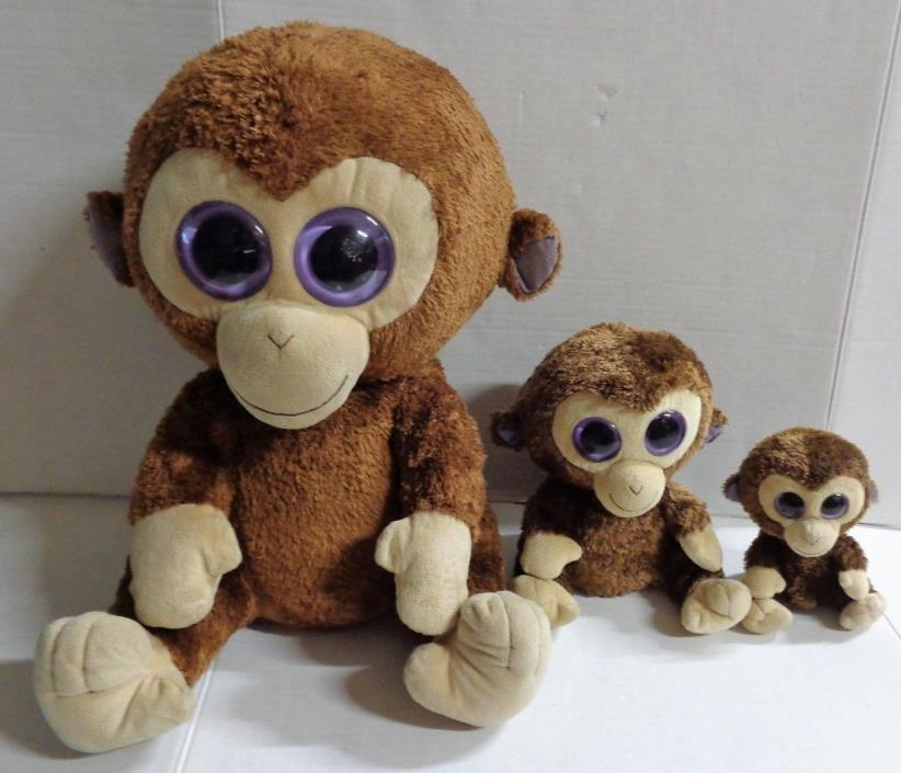 TY Beanie Boos Coconut the Monkey Plush Lot of 3 Jumbo 19