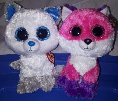 TY Beanie Boo Exclusive Fox set Frost & Joey 9