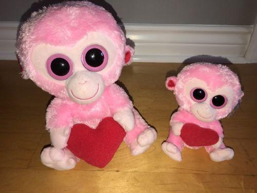 2 Ty Beanie Boos JULEP Pink Monkey Heart 6