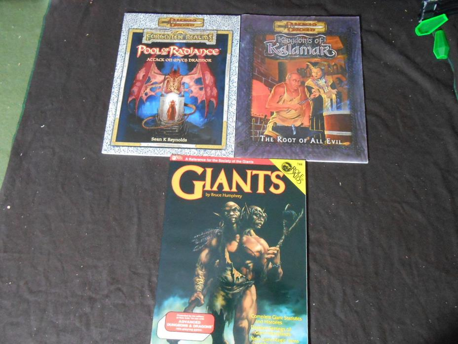 D&D D20 Pool of Radiance, Kingdoms of Kalamar, Giants  adventure reference books