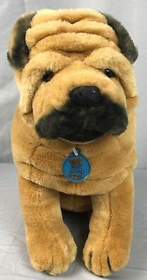 Vintage 1986 Dakin Realistic Shar Pei Brown Wrinkled Puppy Dog Stuffed Animal