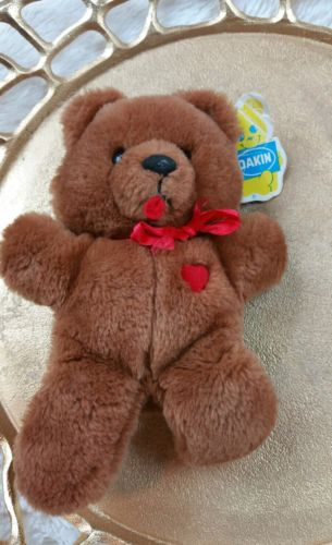 Dakin Stuffed Bear VTG 1983 Love Heart Throb Ribbon Bow 80s Teddy Plush Toy