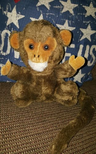 Vintage 1973 Dakin Brown Monkey Ape Plush With Bendable Tail