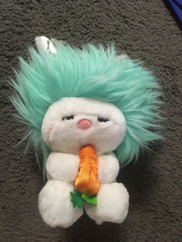 Vtg 1983 Dakin Aqua Green Hair Frou Frou Plush Stuffed Bunny With Carrot New
