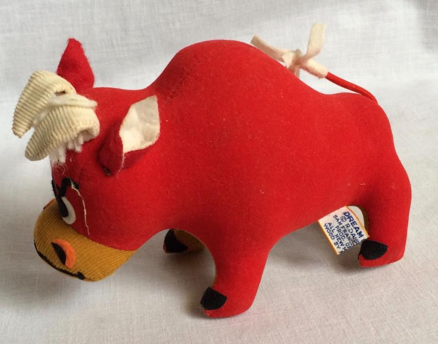 R Dakin Dream Pets Tabasco the Bull Sawdust Stuffed Vintage