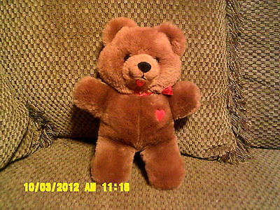 "Vintage 1983 Dakin Plush 9"" BABY THINGS Brown Bear w/ Red Heart & Ribbon (61)"