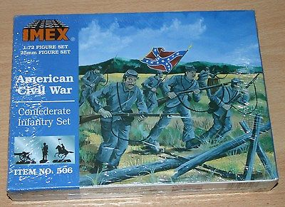 8-506A IMEX 1/72nd (25mm) SCALE CONFEDERATE INFANTRY SET PLASTIC MODEL KIT