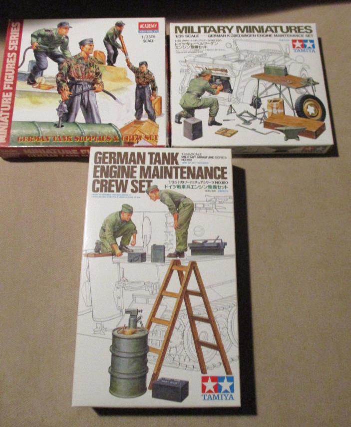 Tamiya / Academy German Tank Supplies Crew, Engine Maintenance & Tank Crew Sets