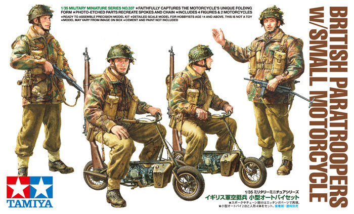 Sealed Tamiya 1/35 British Paratroopers w/Small Motorcycle 35337 (w/ Photo Etch)