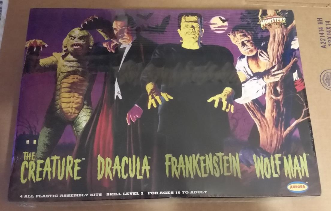 AURORA POLAR LIGHTS UNIVERSAL MONSTERS FRIGHTENING 4 PACK MODEL - NEW, SEALED!