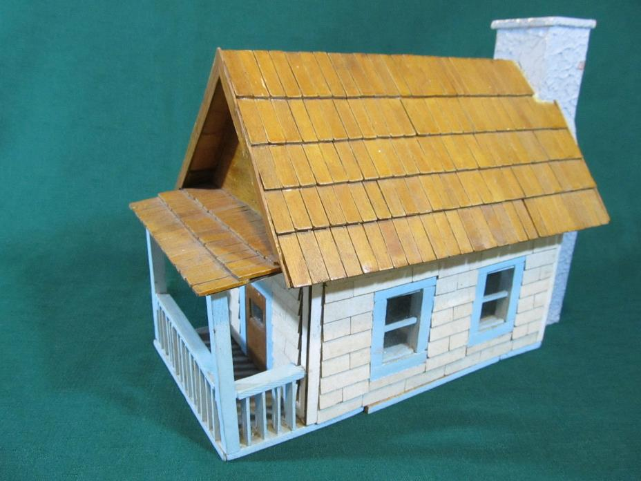 UNIQUE Large Vintage Hand Crafted Model Wood Cabin w/ Porch & Chimney