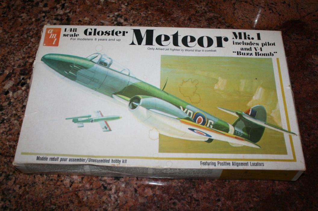Vintage AMT 1/48 Scale GLOSTER METEOR Mk 1 Airplane Model Kit NEW SEALED!!