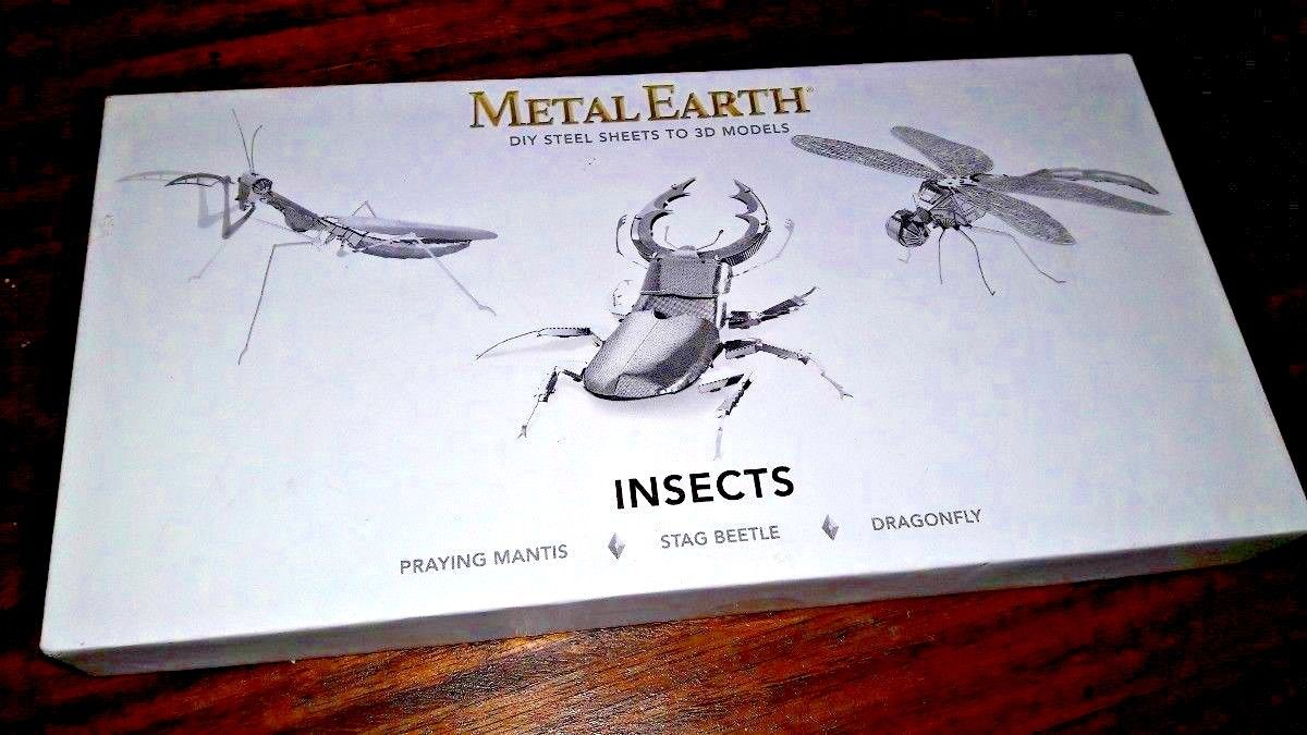 Metal Earth Insects Steel Sheet 3D Models Praying Mantis Stag Beetle Dragonfly