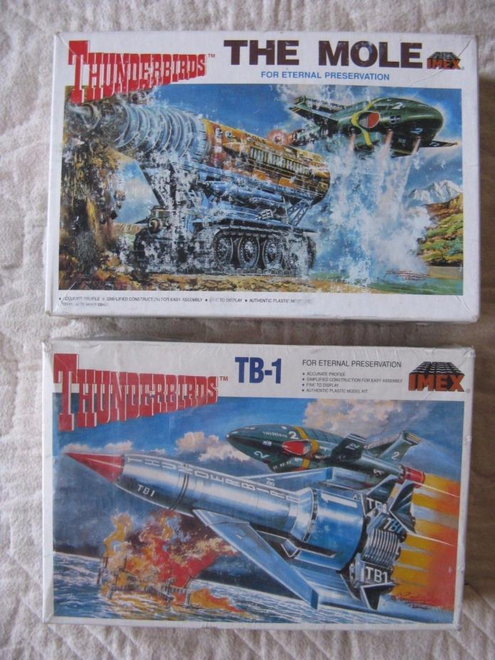 Set of 2 vintage IMEX THUNDERBIRDS model kits TB-1 and THE MOLE
