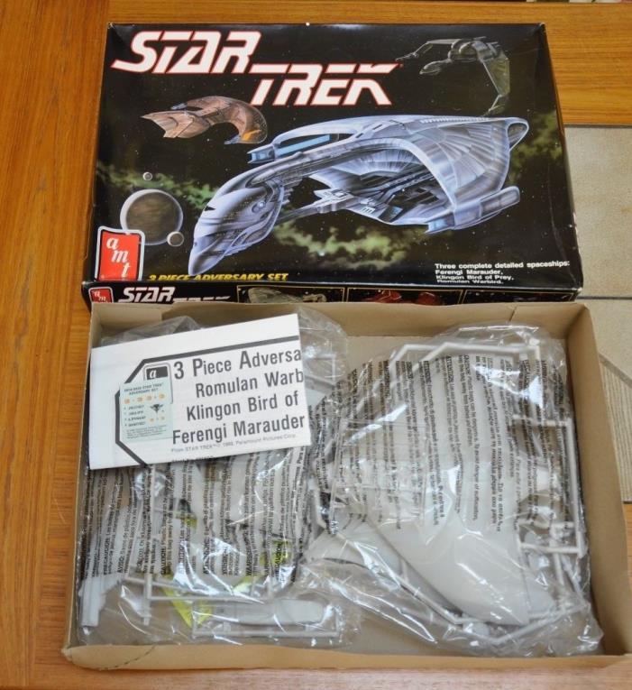 Star Trek 3 Piece Adversary Set, AMT #6858, Klingon, Romulan, Ferengi, 1989