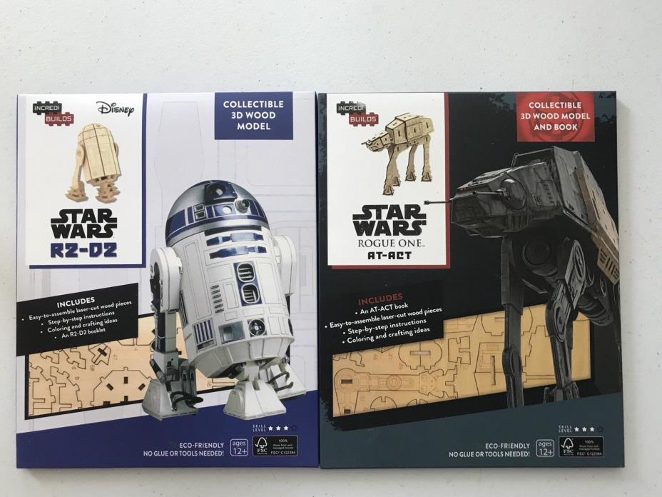 IncrediBuilds Star Wars R2-D2 At-ACT 3D Wood Models NIB LootCrate GeekFuel