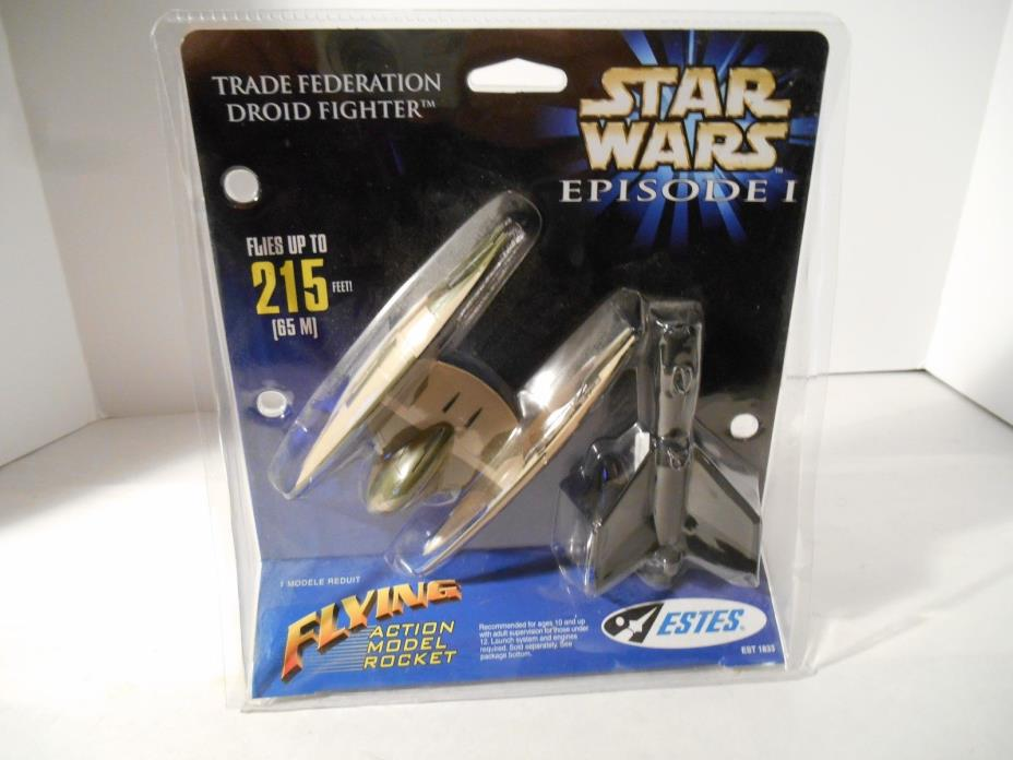 Star Wars Episode 1 Flying Action Model RocketEstes Trade Federation Droid Fight
