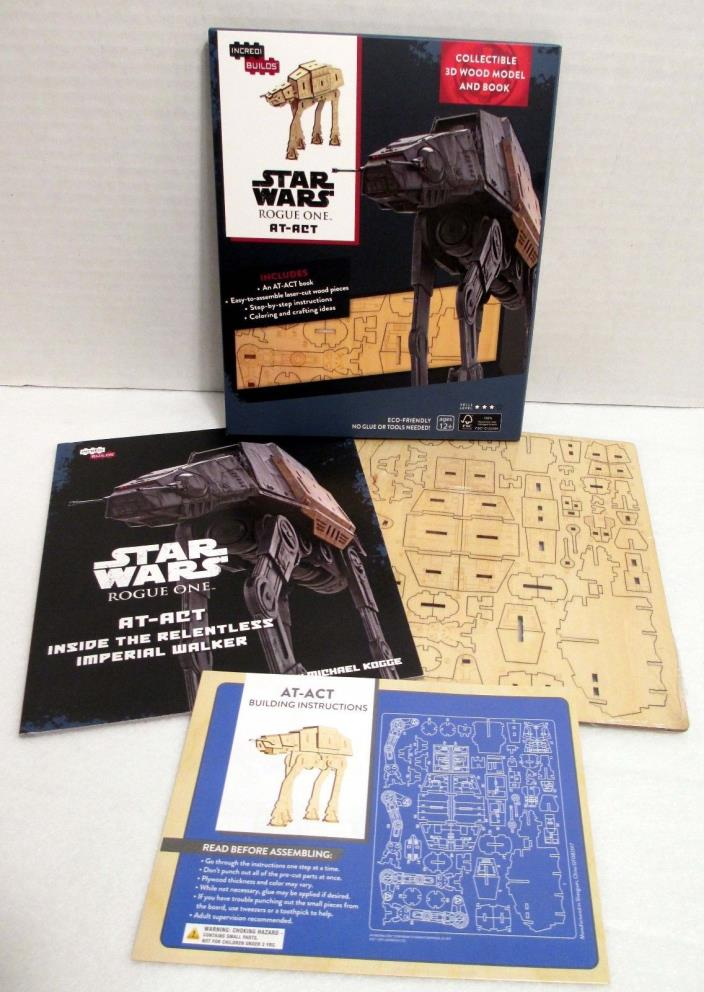 IncrediBuilds Star Wars Rogue One AT-ACT 3D Wood Model & Book Geek Fuel age 12+