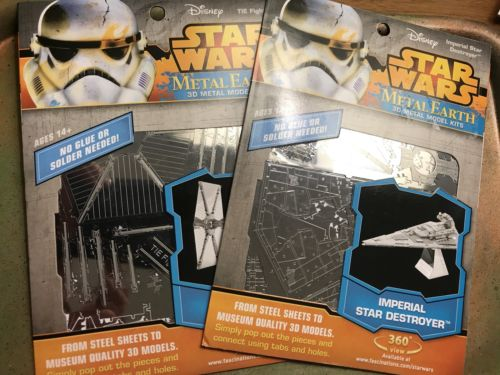 2 Metal Earth Models: Star Wars Tie Fighter And Star Destroyer, In Packaging