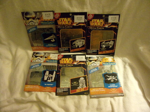 3D Metal Earth model STAR WARS set of 6 R2D2, M. Falcon, X-wing, More