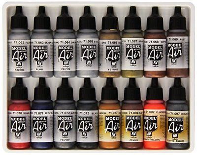 Vallejo Metallic Set Model Air Paint 17ml 16-Pack Tools Supplies Engines Models