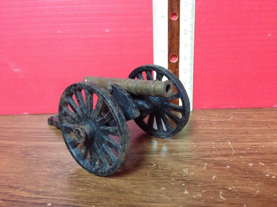 Miniature Cast Iron And Brass Field Cannon