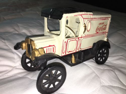 Vintage Cast Iron Coca-Cola Delivery Truck - Antique Black Spoke wheels