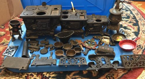LARGE LOT OF ANTIQUE CAST IRON CRESCENT, QUEEN & POT BELLY Stoves W/Accessories
