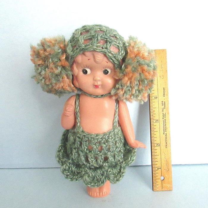 Celluloid BATHING BEAUTY Doll Crocheted Suit Cap Japan Cross Circle Mark Vintage
