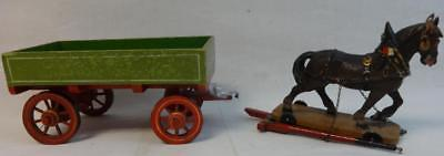 Rare Antique Large Elastolin Farm Wagon and Horse in Original Paint Germany