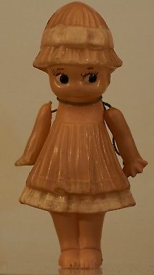 circa 1920 Celluloid Kewpie doll Dressed Japan Fish Mark Export Sticker