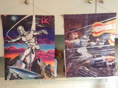 VINTAGE 1986 Marvel Comics Hanging Felt Pennant Banners Punisher Silver Surfer