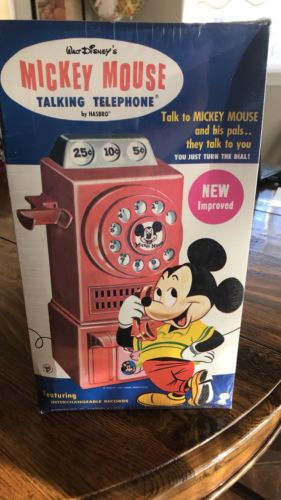 Vintage Hasbro Mickey Mouse Talking Payphone Telephone. 1968 New in Box 5431