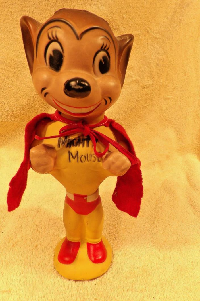MIGHTY MOUSE TERRYTOON 9 1/2 INCH RUBBER FIGURE WITH CAPE.1950'S