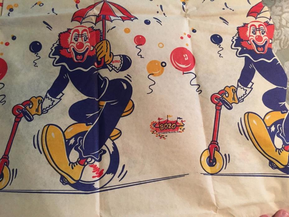 Vintage Bozo The Clown Paper Tablecloth Capitol Records 96 X 50 Inch