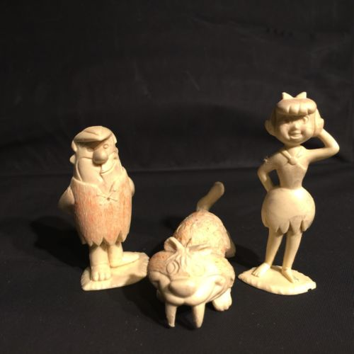 Vintage 1961 MARX Flintstones Playset Barney, Betty & Snaggletooth Cream Figures