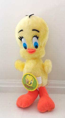 Vtg TWEETY BIRD W Tag 1971 Warner Bros. Plush Toy Stuffed Bendy Legs 14