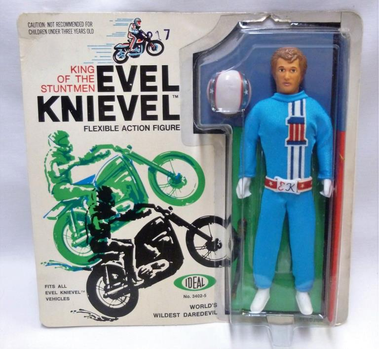 Evel Knievel Ideal Action Figure MOC 1972 Factory Sealed Blue Jumpsuit 3402-5