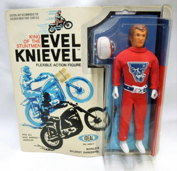 Evel Knievel Ideal Action Figure MOC 1972 Factory Sealed Red Jumpsuit 3400-9