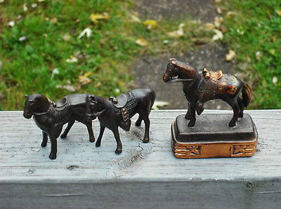 Lot of 3 Vintage Cast Pot Metal Horse Statues & Paperweight -Carnival Fair Prize